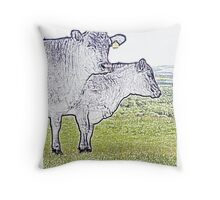 Cley Cows Too C Throw Pillow