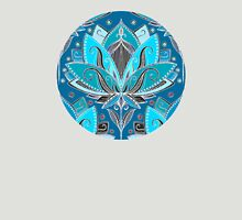 Art Deco Lotus Rising - black, teal & turquoise pattern Womens Fitted T-Shirt