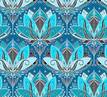 Art Deco Lotus Rising - black, teal & turquoise pattern by micklyn