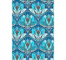 Art Deco Lotus Rising - black, teal & turquoise pattern Photographic Print