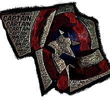 Captain America - Shattered Shield with text by Colin Bradley