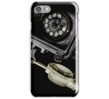 Close-up of an old black telephone iPhone Case/Skin