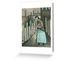 The mill worker ( from my original acrylic painting digitally enhanced) Greeting Card