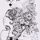 lady and foxes by CupcakeRo