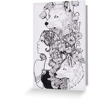 lady and foxes Greeting Card