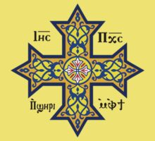 Coptic Orthodox Cross with text on blue Kids Clothes