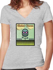 Robot Farm Women's Fitted V-Neck T-Shirt