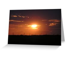 Fencing in the sunset Greeting Card
