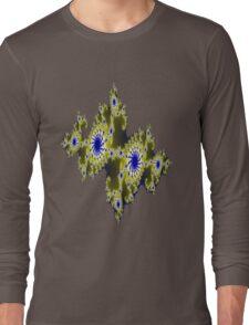 Blu and Gold Fractal Long Sleeve T-Shirt