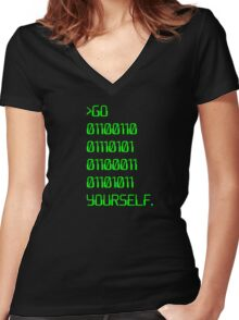 Go ( Binary Curse Word ) Yourself Women's Fitted V-Neck T-Shirt