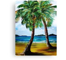 Lazy Twin Palms..........Two Person Party............ Canvas Print