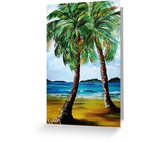 Lazy Twin Palms..........Two Person Party............ Greeting Card