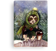Saw Whet Owl and Friend Canvas Print