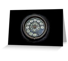 Old black telephone. Close-up of a rotary dial Greeting Card