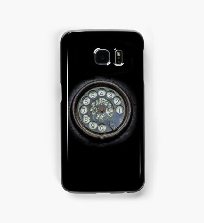 Old black telephone. Close-up of a rotary dial Samsung Galaxy Case/Skin