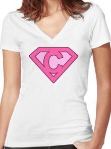 C letter Women's Fitted V-Neck T-Shirt