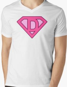 D letter Mens V-Neck T-Shirt