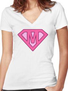 M letter Women's Fitted V-Neck T-Shirt