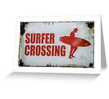 Vintage Surfer Crossing Sign Greeting Card