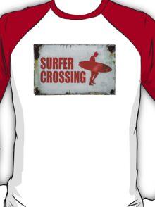 Vintage Surfer Crossing Sign T-Shirt
