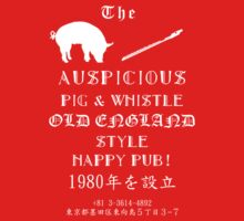 Auspicious Pig and Whistle Old England Style Happy Pub T-Shirt