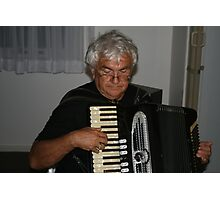 The Old Accordion Player, is not a gentleman.  Photographic Print