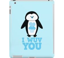 I Wuv you with cute penguin iPad Case/Skin