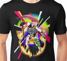 Zandozan Jumps the Flaming Hoop in the Rays of Neptune with a Boom Box and a Pink Dolphin Unisex T-Shirt