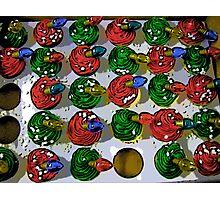 Comic Abstract Christmas Cupcakes Photographic Print