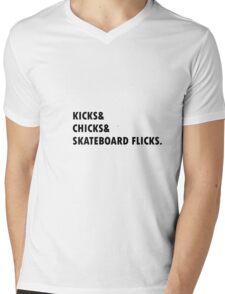kicks chicks skateboard flicks Mens V-Neck T-Shirt