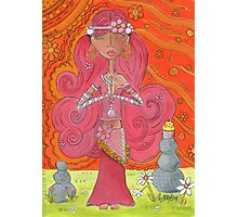 Pink Yoga Gypsy – Whimsical Folk Art Girl in Namaste Pose  Photographic Print