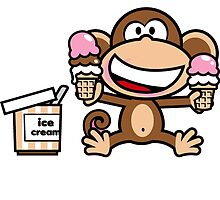Sweet cute monkey with ice cream by Jungyoomi