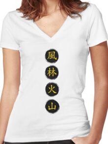 Ryu Belt Kanji Women's Fitted V-Neck T-Shirt