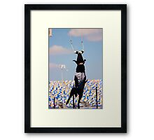 Dock Diving • Black Lab Framed Print