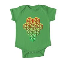 Penrose Cube Stack - Yellow Green One Piece - Short Sleeve