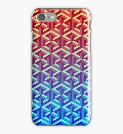 Penrose Cube Stack - Red Blue iPhone Case/Skin
