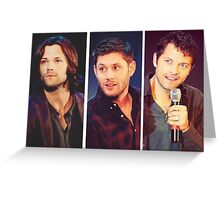 Jared Padalecki, Jensen Ackles, and Misha Collins Greeting Card