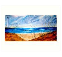 Oil Seascape and Lighthouse painting Art Print