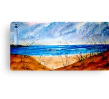 Oil Seascape and Lighthouse painting Canvas Print