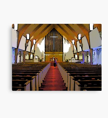 Comic Abstract Looking Up At Cross In Church Canvas Print