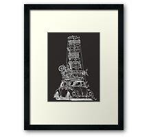 Stack Yo Rack ...white ink Framed Print