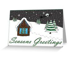 Seasons Greetings green Greeting Card