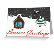 Seasons Greetings red Greeting Card