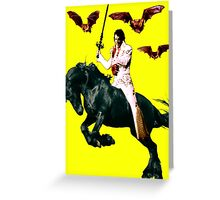 Heavy Metal Elvis Summons the Bats Greeting Card