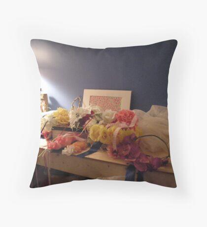 days of floral wedding headpieces Throw Pillow