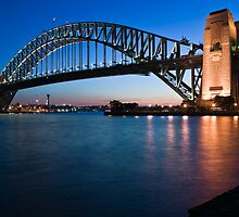 Sydney Harbour Bridge at dusk by Paul Foley