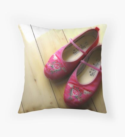 Little Pink Slippers Throw Pillow