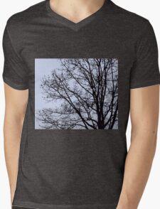 Fall Tree Silhouette Vector Blue Mens V-Neck T-Shirt