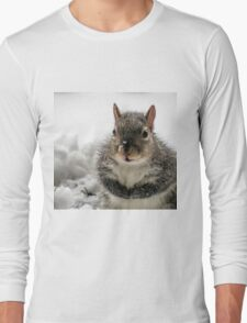 Squirrel Praying For Food In Snow At My Door Long Sleeve T-Shirt