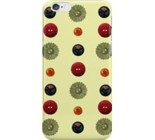 Vintage Flower Buttons - (on pale green) iPhone Case/Skin
